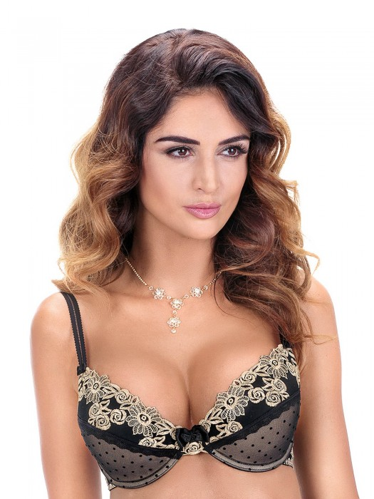 Damen BH RÓŽA Nefer Push-up schwarz-gold