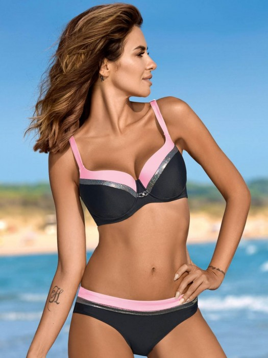 Damen Bikini 216 Esther-X-GB C/J schwarz+rosa