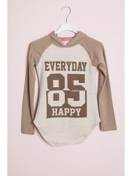 Kinder Langarm T-Shirt EVERYDAY HAPPY beige