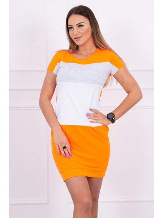Damen Sportkleid gestreift weiß+neo-orange+grau