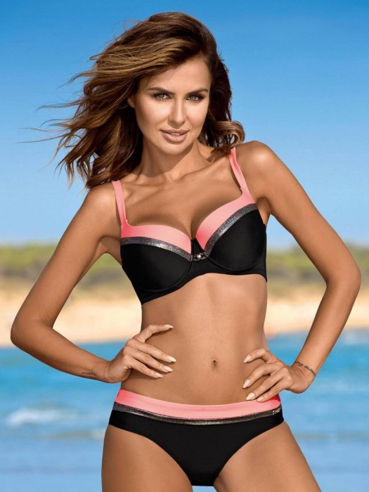 Damen Bikini 216 Esther-X-GB C/P schwarz+rosa