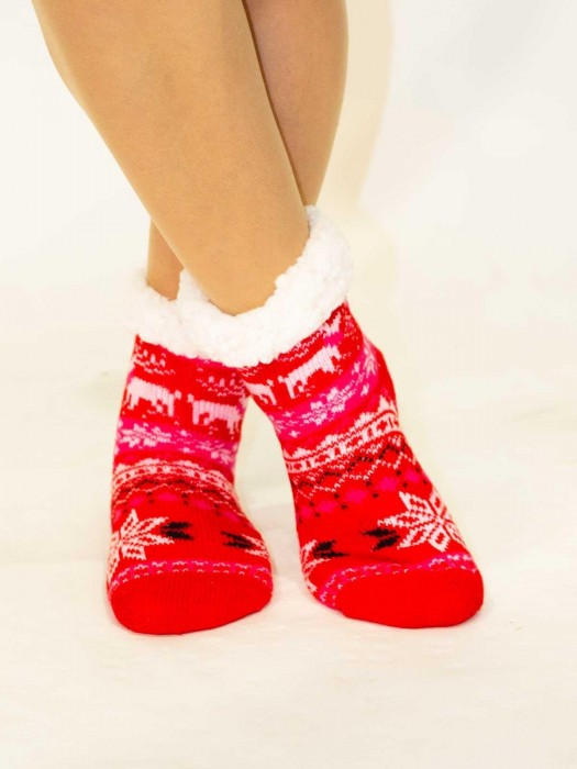 Tolle Kinder Thermo-Socken Weihnachtswunder rot