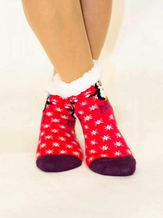 Tolle Kinder Thermo-Socken Pinguin rosa-lila