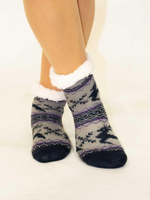 Tolle Kinder Thermo-Socken Rentier grau-lila