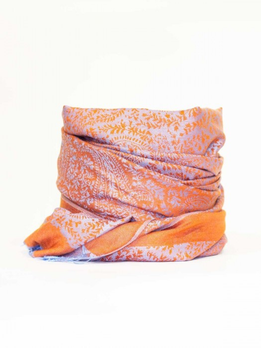 Damen Pashmina Schal orange mit hellblau