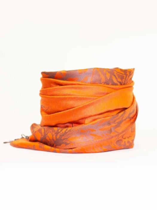 Damen Pashmina-Schal orange+grau