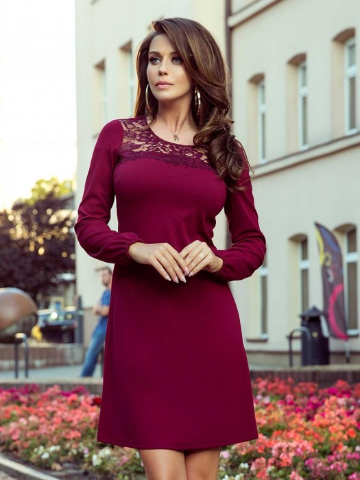Elegantes Damen Kleid 291-1 Bordo