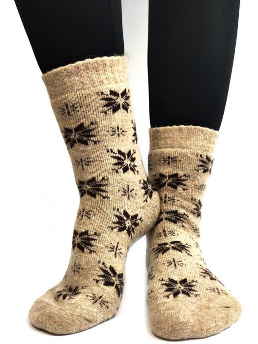 Damen Thermo-Wollsocken beige mit braunen Flocken