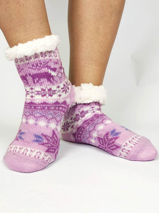 Tolle Kinder Thermo-Socken 20-01 Weihnachtswunder lila