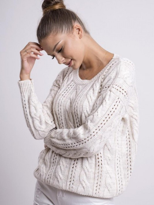 Damen Pullover mit Strickmuster LOGAN cream