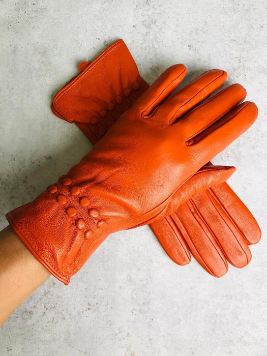 Damen Lederhandschuhe mit Zierapplikation orange