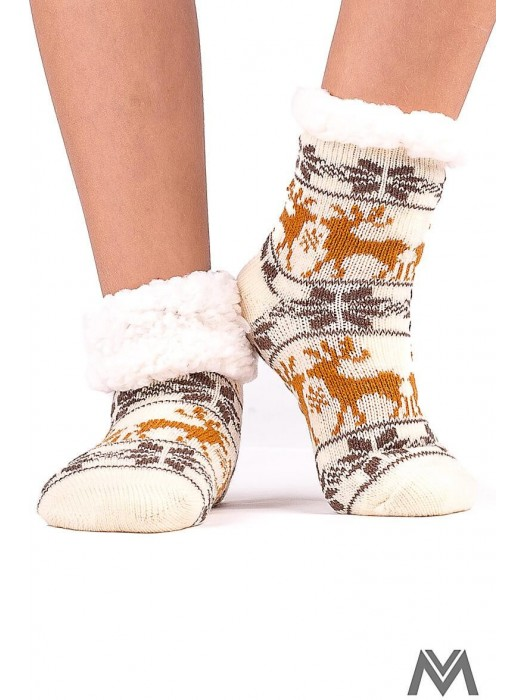 Kinder Thermo Socken Rentier creme