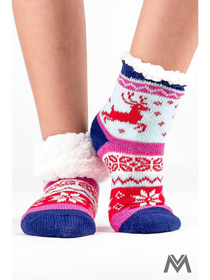 Kinder Thermo Socken Rentier-rot-blau