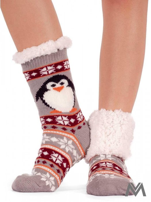 Thermo Socken Pinguin grau