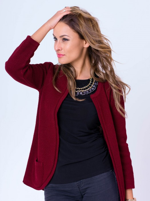 Damen Strickjacke NESS - weinrot