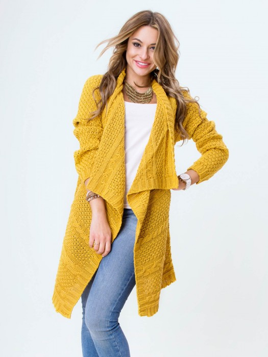 Stilvolle Strickjacke in gelb OSSI
