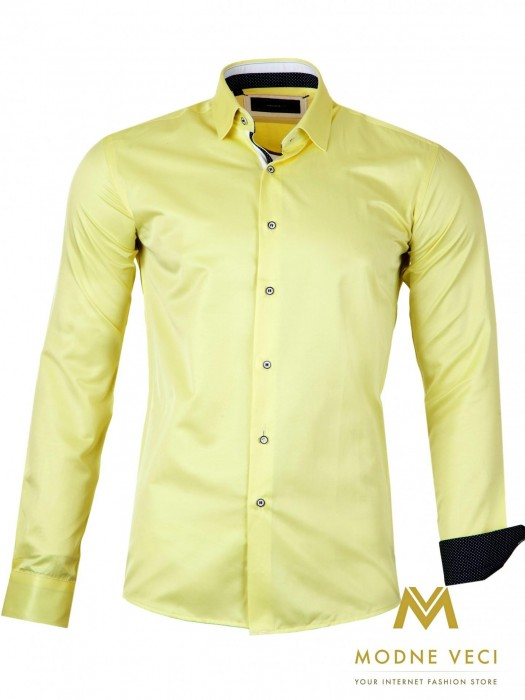Luxus-Herrenhemd Gelb SLIM FIT CUT 1522-4