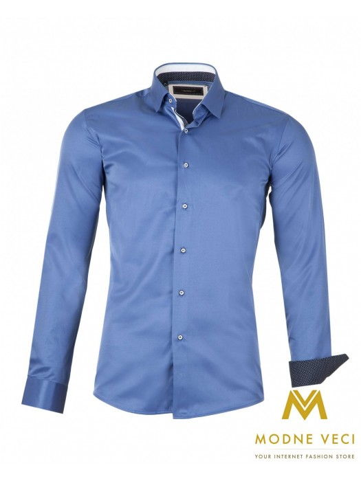 Luxus-Herrenhemd dunkelblau SLIM FIT CUT 1522-8