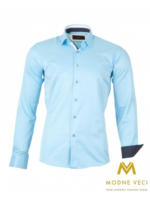 Luxus-Herrenhemd hellblau SLIM FIT CUT 1522-10