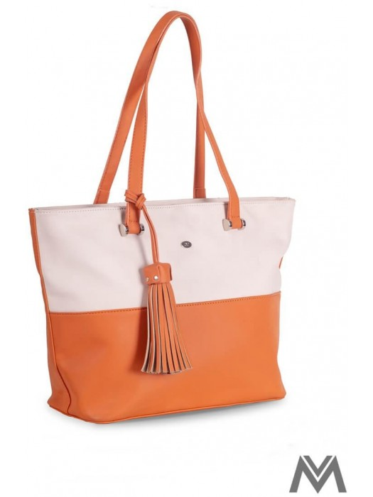 Damen Handtasche David Jones CM3115 Creme/Orange