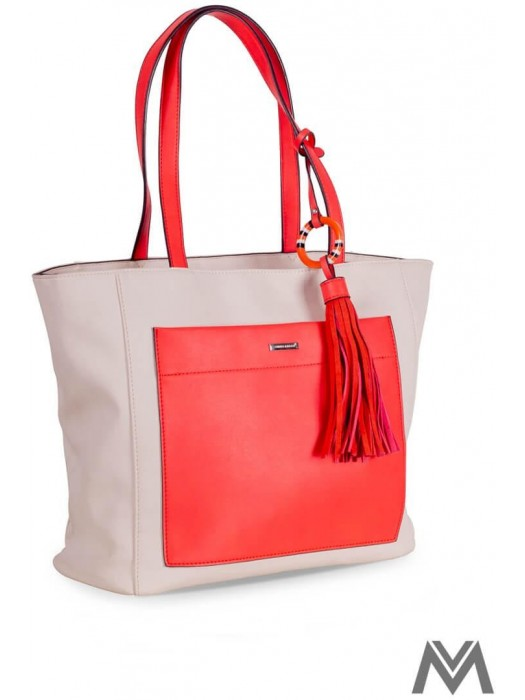 Damen Handtasche David Jones mit Anhänger Creme/Orange