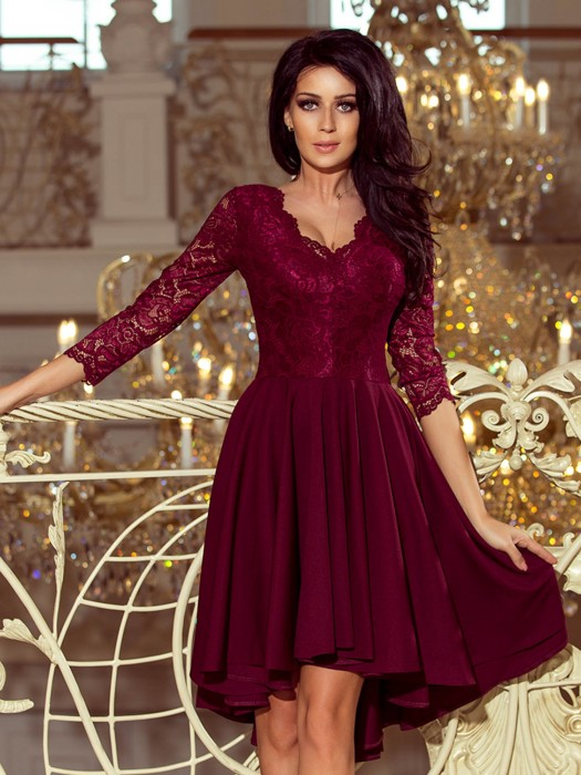 Elegantes Damen Kleid 210-1 bordo